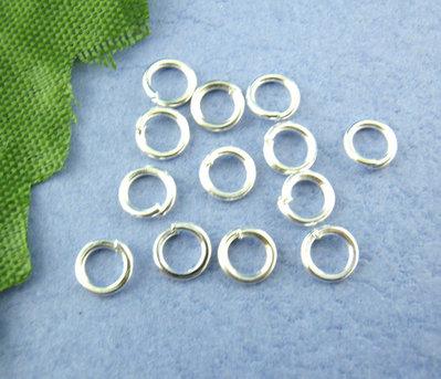 100 anellini,anelli Apribili tono Argentato misura 4 mm
