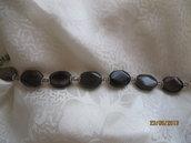 bracciale creato di pietre  quarzo fumè  e cristalli bicono Swarovski