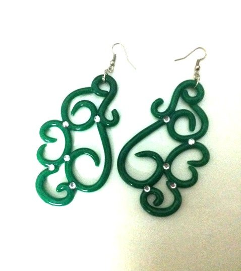 orecchini in fimo verdi