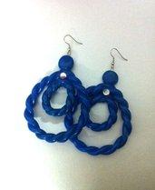 orecchini fimo blu oceano
