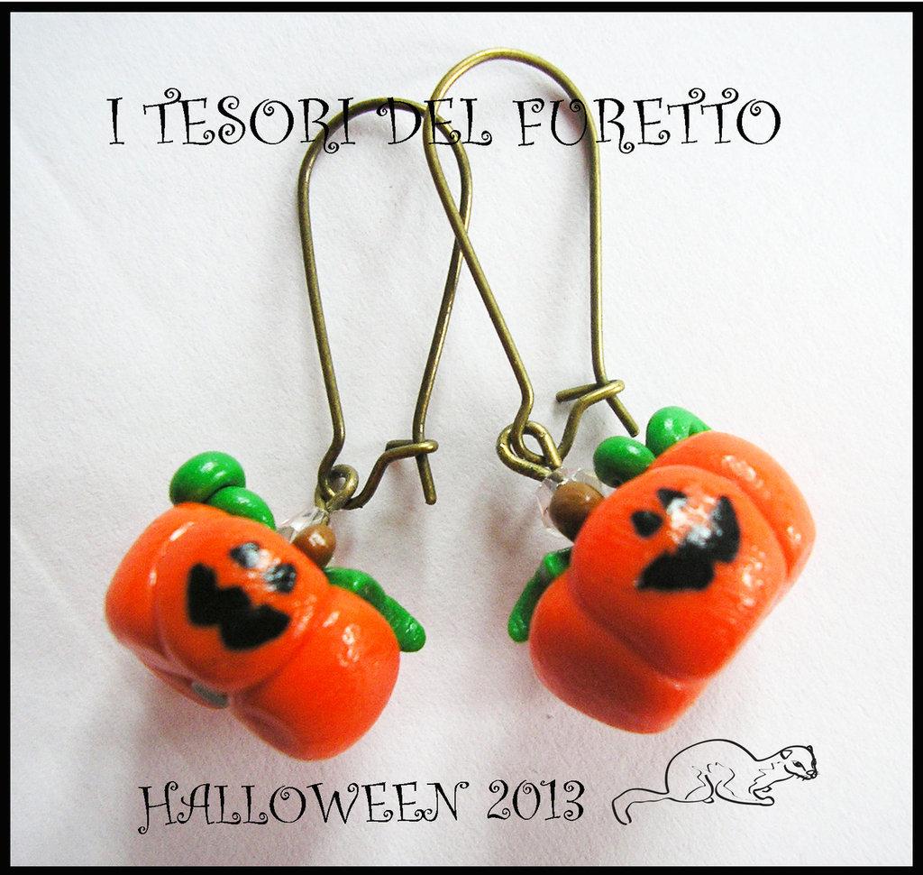 "Orecchini Halloween ""Zucche monachella Bronzo"" fimo cernit kawaii"