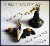 """Orecchini Halloween """"Pipistrello + cappello da strega"""" fimo cernit kawaii"""