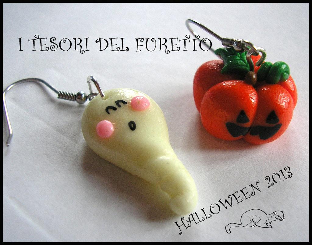 """Orecchini Halloween """"Zucca + fantasma"""" fimo cernit kawaii"""