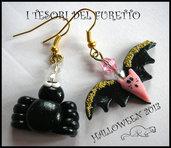 """Orecchinie Halloween """"pipistrello + ragno"""" fimo cernit kawaii"""