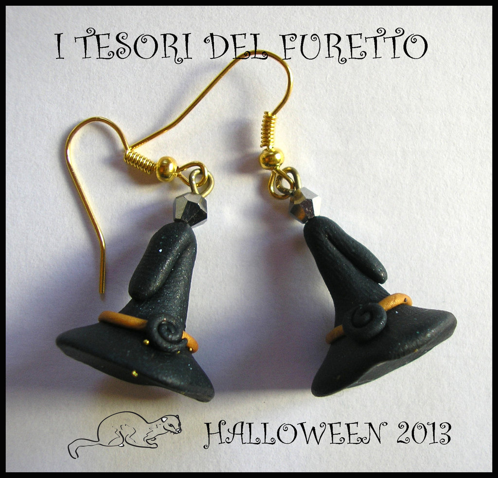 """Orecchini Halloween/Epifania """"Cappelli da strega Nero-Befana"""" fimo cernit kawaii"""