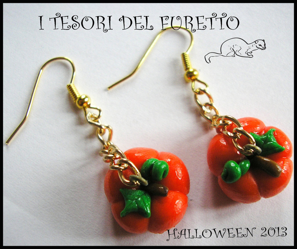 """Orecchini Halloween """"Zucche su catenella"""" fimo cernit kawaii"""