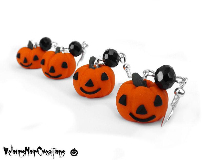 Orecchini zucca di halloween in fimo
