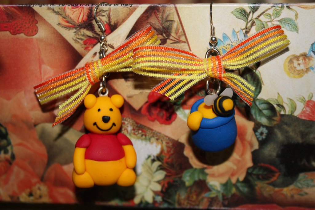 orecchini winnie the pooh in fimo