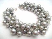 bracciale grigio con perle cerate
