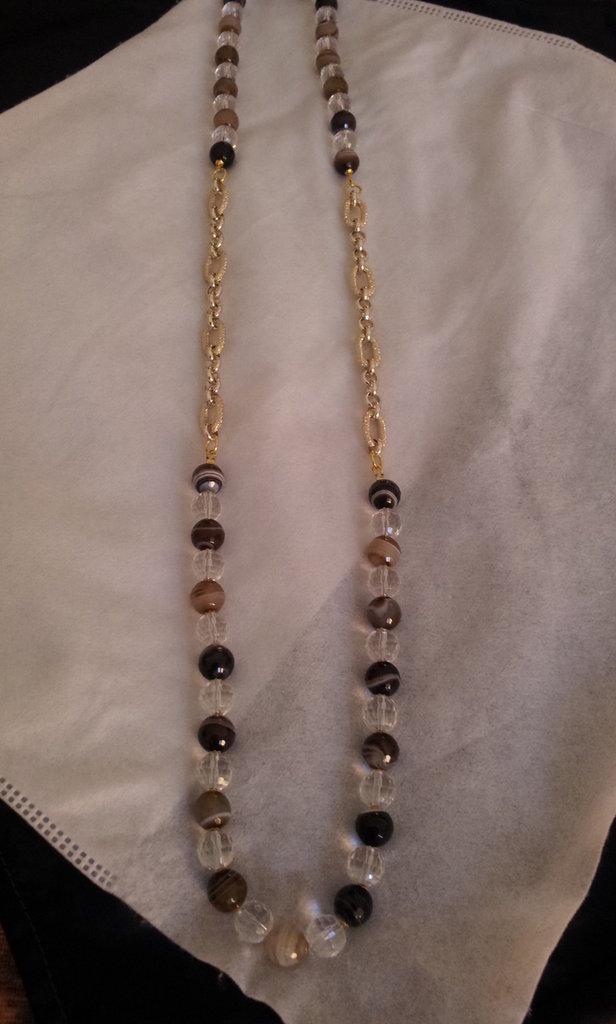 Collana pietre dure  alternate a catena dorata