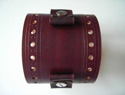 Bracciale in pelle cuoio forato per orologio personalizzabile - leather cuff watchband