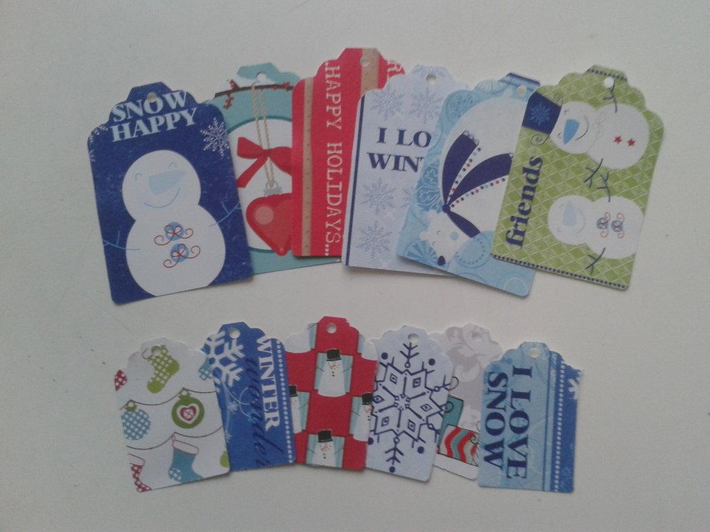 12 tags soggetto natalizio di due dimensioni,lotto n 1