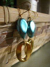orecchini color oro e turchese
