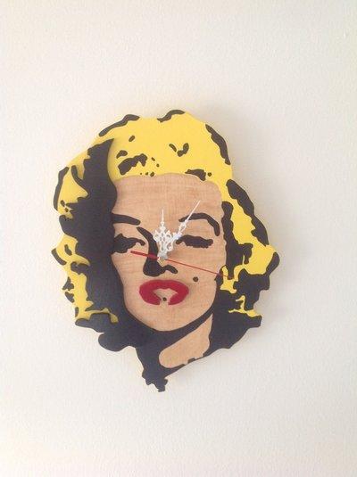 Marilyn Monroe orologio da muro/ perete wall clock moda moderno in legno