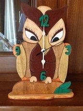 Orologio Gufo da appoggio, per camino o mobile, in legno fatto a mano
