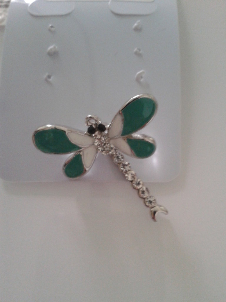 1 charm libellula con smalti e strass 30x29mm