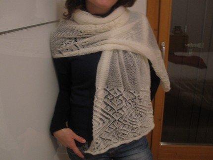 white shoulder wrap scarf neck warmer handmade from wool - with patternwhite shoulder wrap scarf neck warmer handmade from wool - with pattern