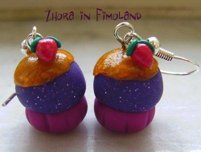 Orecchini cupcakes miele e fragole (fimo)