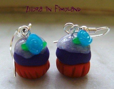Orecchini cupcakes con glasse e rosellina (fimo)