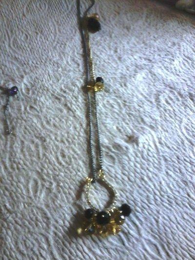 collana bigiotteria con pendente con strass e pietre