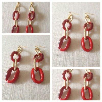 orecchini in resina e catena dorata
