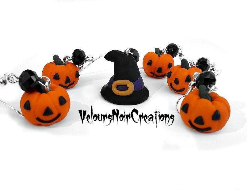 Orecchini per halloween zucca e cappello da strega di in fimo