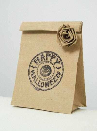 Small Halloween Paper Bags Favor Kraft Brown Bags 10 pcs