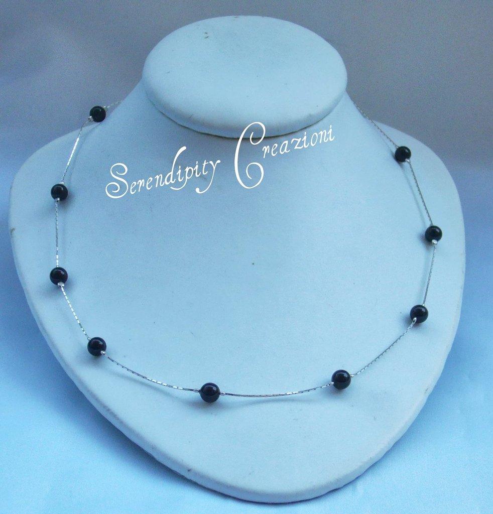 Girocollo Perle nere in argento 925