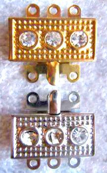 FERMAGLIO oro o argento e strass, chiusura 3 fili