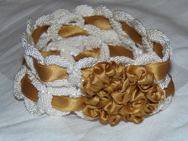 OCCASIONE polsino/collarino color bianco ed oro