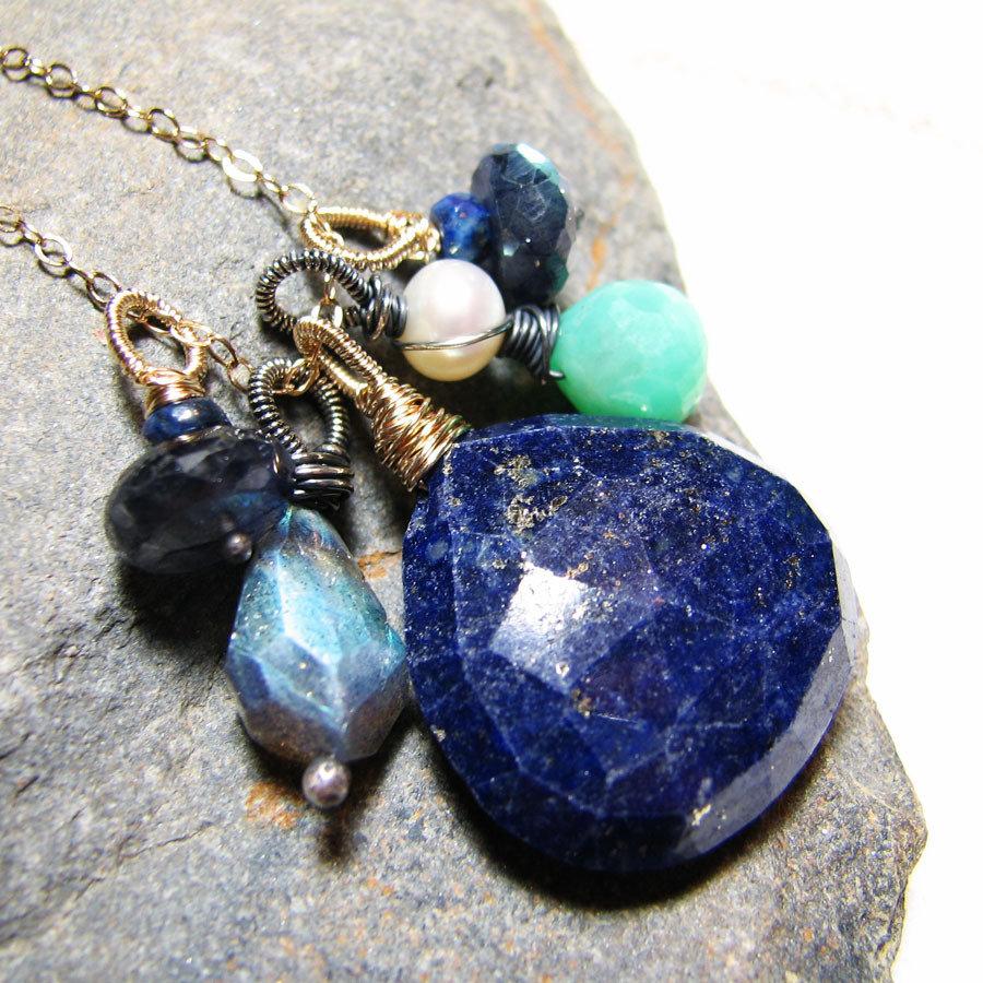 Ciondolo con lapis lazuli in oro 14 kt