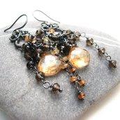 Orecchini in argento, orecchini con quarzo oro, orecchini lunghi