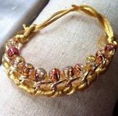 bracciale in corda e catena con perline