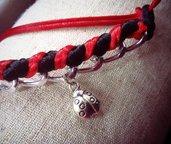 bracciale doppio in corda e catena con charms