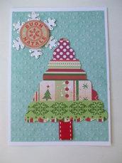 Biglietto Natale albero 2 azzurro