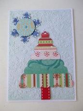 Biglietto Natale albero 1 azzurro