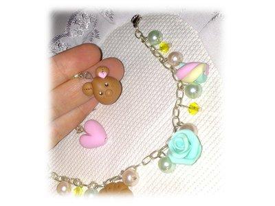 Bracciale e orecchini ciondoli fimo (orsetto, marshmallow, rosa, biscotto, cuore)