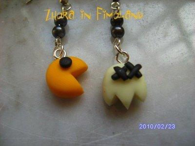 orecchini Pac Man di fimo (fantasma bianco foforescente)