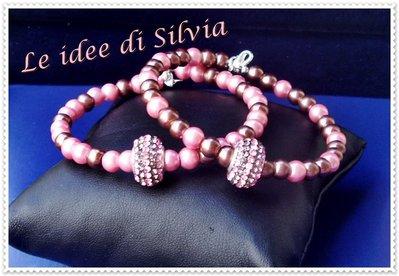 Bracciali semirigidi con perle sintetiche e strass