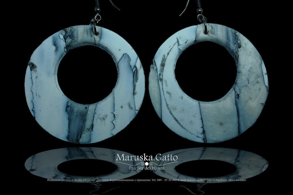 Orecchini tondi bucati effetto marmo (fimo)-006