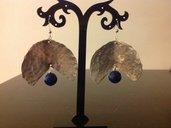 Orecchini rame argentato  con giada blu