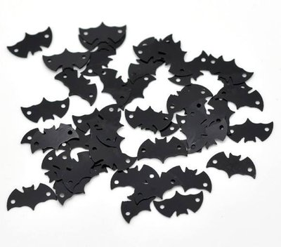 100 Decorazioni Pipistrello Nero per Bigiotteria 15×8mm
