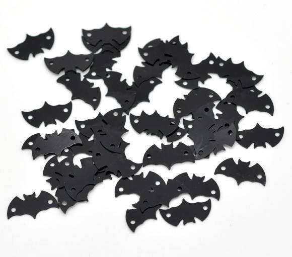100 Decorazioni Pipistrello Nero per Bigiotteria 15×8mm