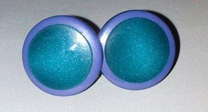 orecchini bottone verde e viola!!