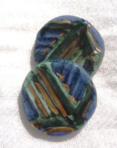 orecchini bottoncino blu verde e dorato!