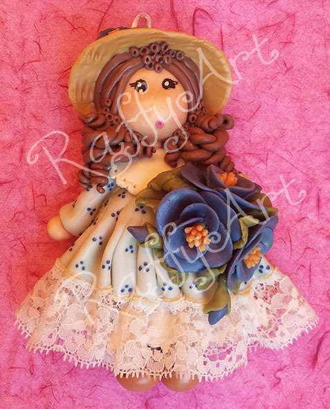 "Bambolina in pasta di mais ""My Country Dolls – Miss Anemone"""
