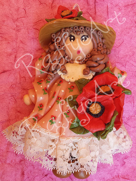 """Bambolina in pasta di mais """"My Country Dolls – Miss Poppy"""""""