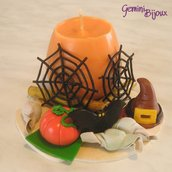 Candela Halloween con decorazioni in fimo