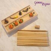 """Set """"Halloween"""" matite colorate, temperino, righello decorato in fimo"""