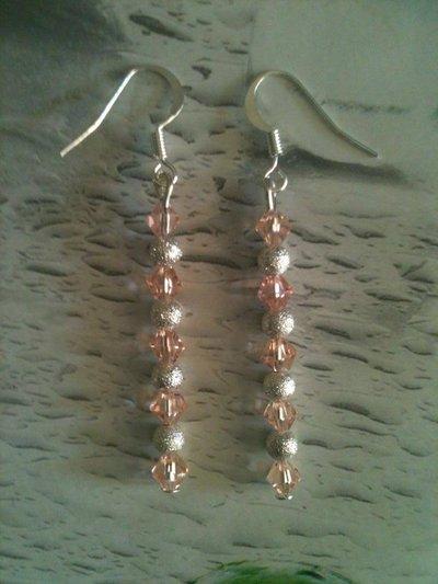 orecchini con biconi rosa e stardust